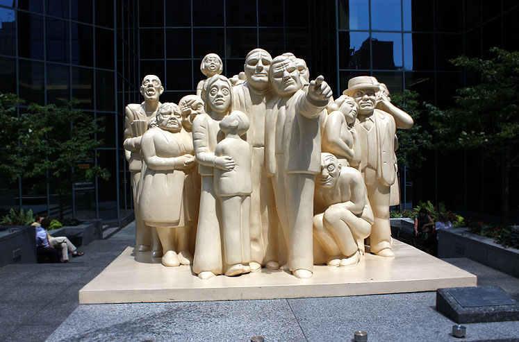 World Travel Photos :: Canada - Quebec - Montreal :: Montreal.  The Illuminated Crowd - the statue consists of 65 figures