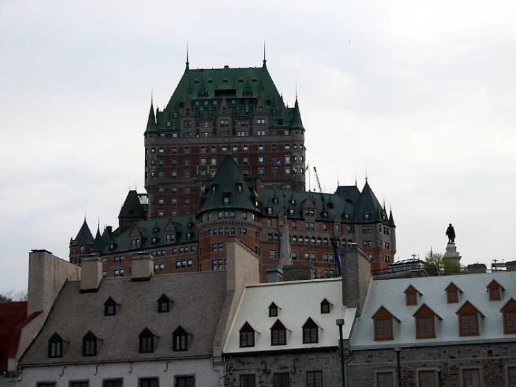 World Travel Photos :: Fairmont Le Chateau Frontenac :: Quebec City. View on Château Frontenac Hotel from the Old Port District