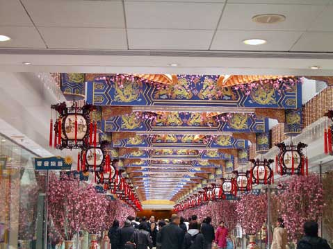 World Travel Photos :: Fragments of city life :: Hong Kong. Chinese New Year decorations in Telford Plaza, Kowloon