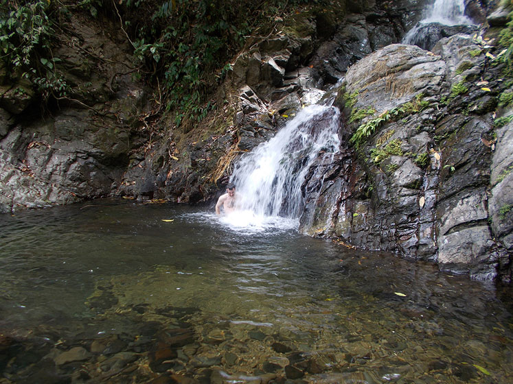 World Travel Photos :: Waterfalls :: Costa Rica. Bathing in a waterfall in the rain forest