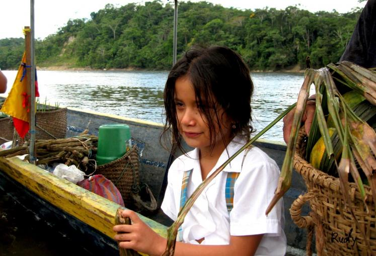 World Travel Photos :: Ecuador  - Misc :: Going to school in the Napo River Amazonic region of Ecuador