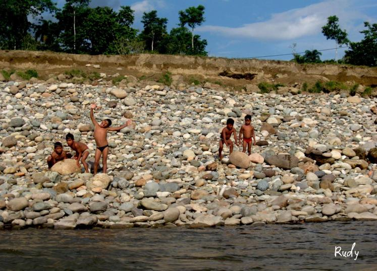 World Travel Photos :: Rudy Chaim :: Happy kids - Indian kids taking a bath in Napo River, amazonic region of Ecuador
