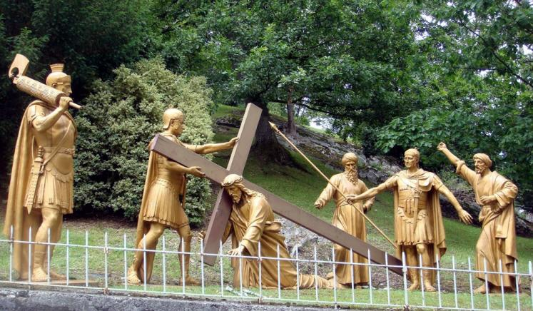 World Travel Photos :: France - Lourdes :: Lourdes. Way of the Cross - 3rd Station: Jesus falls the first time
