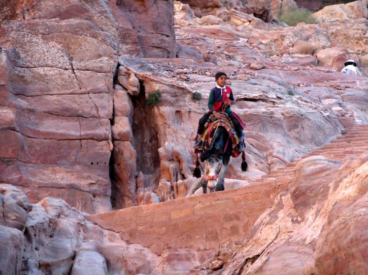 World Travel Photos :: Jordan - Petra :: Petra. Local boy riding donkey