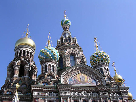 World Travel Photos :: The Church of the Savior on Spilled Blood :: St. Petersburg. Domes of the The Church of the Savior on Spilled Blood