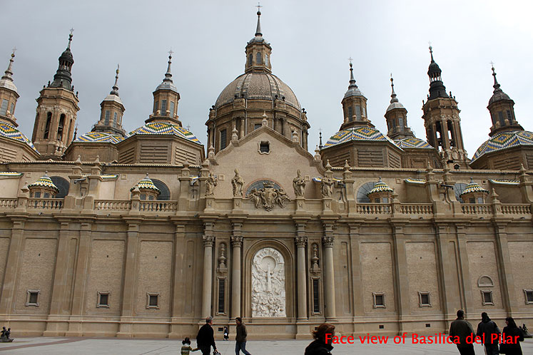 World Travel Photos :: Spain - Zaragoza :: Spain. Zaragoza - face view of Basilica of Our Lady of the Pillar