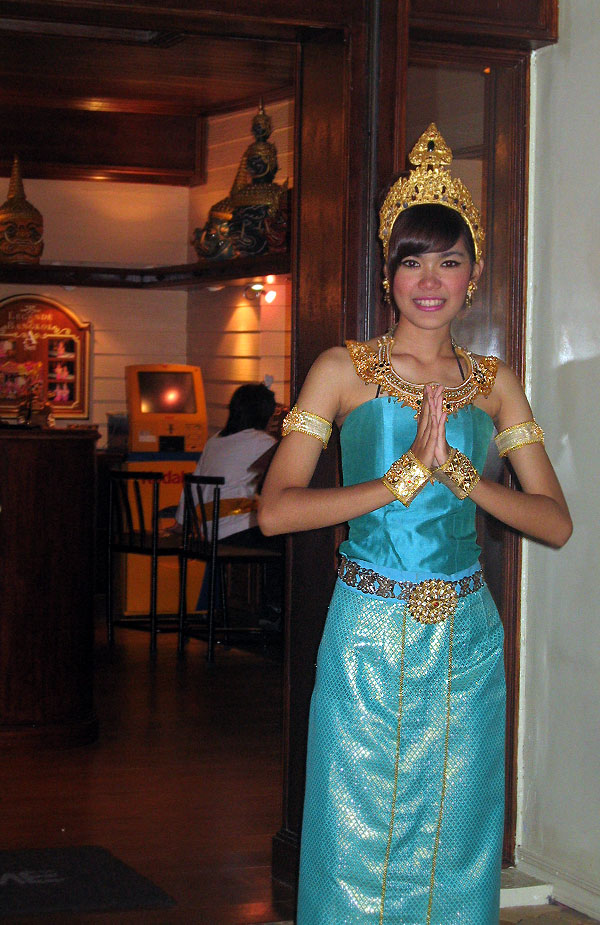 World Travel Photos :: Thailand - Misc :: Thailand, Sales rep. in traditional costume