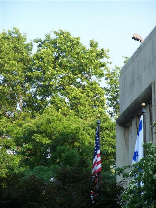 World Travel Photos :: Jewishfan :: Boston. Flags in front of Temple Kehilath Israel