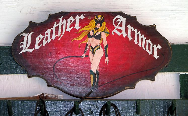 World Travel Photos :: Shop-Signs :: Michigan. Renaissance Festival. Leathier Armor.