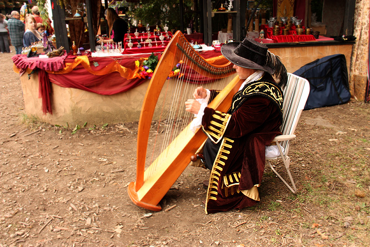 World Travel Photos :: USA - Michigan - Renaissance Festival  :: Michigan. Renaissance Festival - a harp player