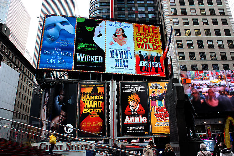 World Travel Photos :: USA - New York City :: New York City. Times Square - NOW PLAYING