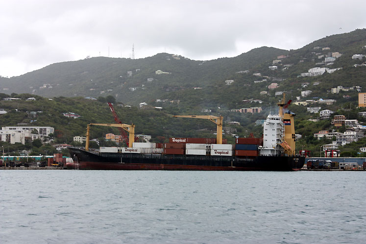 World Travel Photos :: USA - Virgin Islands :: A cargo ship in Saint Thomas